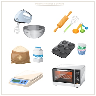Ausrüstung zum backen, einschließlich öfen, mehlmischer, mehlwaagen usw. praktisch für die verwendung in der werbung ihrer konditorei.