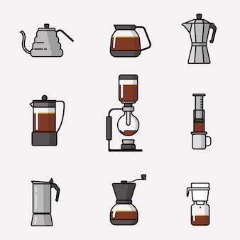 Ausrüstungs-icon-pack für die zubereitung von kaffee