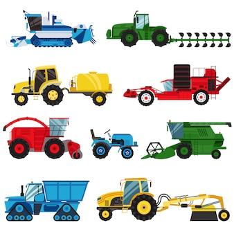 Ausrüstungsbauernhof für landwirtschaftsmaschineriemähdreschervektor.