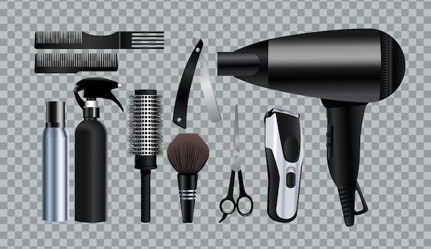 Ausrüstungsikonen der friseurwerkzeuge in der grauen hintergrundillustration