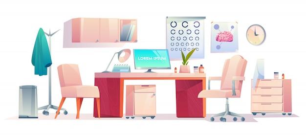 Ausrüstungsraum des doktortherapeutbüromaterials gesetzten