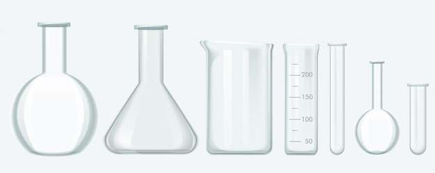 Ausrüstungssatz der chemischen wissenschaft. laborglas-ausrüstungsvektorillustration.