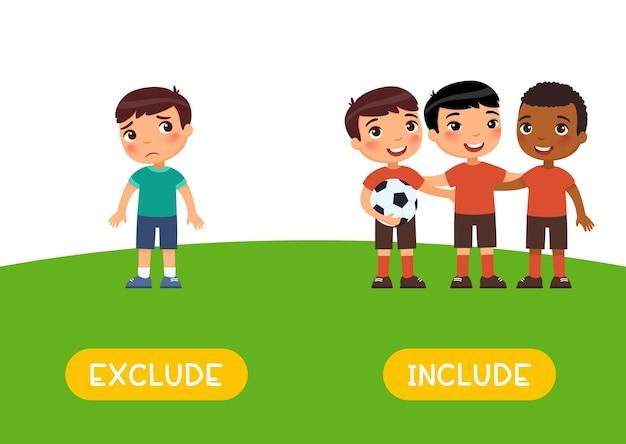 Ausschließen und einschließen von antonyme-wortkarte gegensätze konzept flashcard für das erlernen der englischen sprache