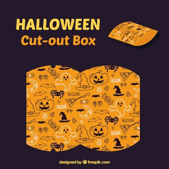 Ausschnitt-box mit halloween-zeichnungen