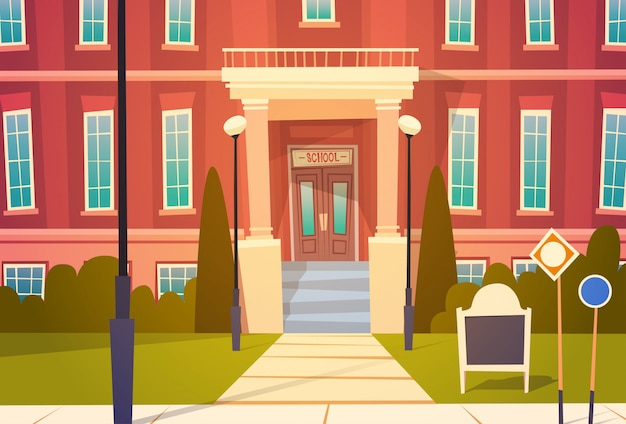 Außenansicht des modernen schulgebäudes willkommen zurück in der schule