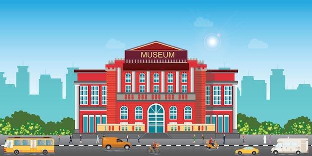 Außenansicht des museumsgebäudes, öffentliches regierungsgebäude der stadtarchitektur. kunstmuseum der modernen malerei, vektorillustration des außenaußengebäudes der landschaft.