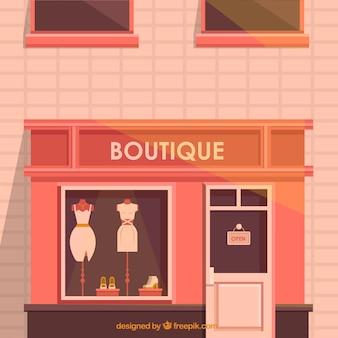 Außenansicht eines boutique mit warmen farben