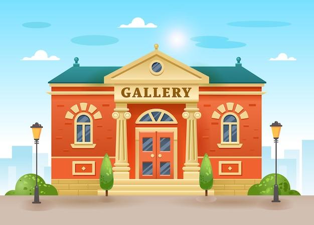 Außenansicht eines galerie- oder museumsgebäudes mit titel und säulen. flache illustration des kunstmuseums für zeitgenössische malerei der stadtarchitektur