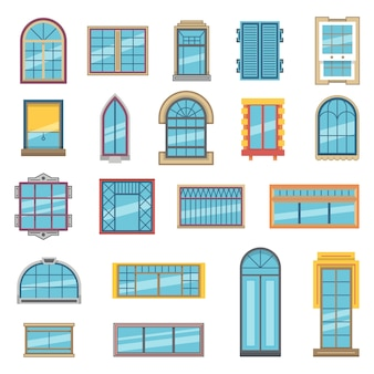 Außenset aus verschiedenen kunststoff- oder holzfenstern