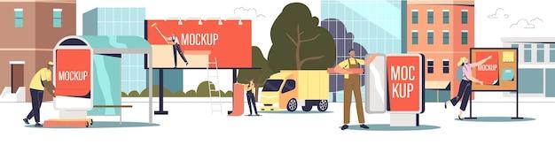 Außenwerbung installation: servicemitarbeiter einer straßenwerbungsagentur, der plakate für das stadtmarketing auf plakaten, schildern und am busbahnhof anbringt. flache vektorillustration der karikatur