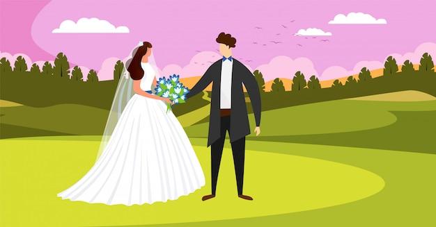 Außerhalb der hochzeitstag zeremonie. glückliches brautpaar.
