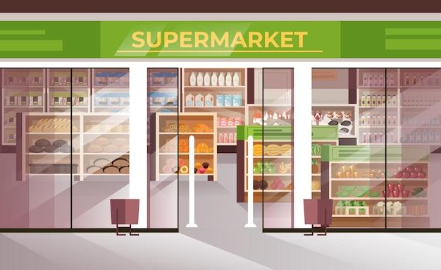Außerhalb lebensmittel supermarkt konzept