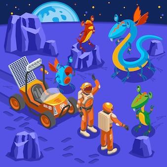 Außerirdische isometrische hintergrundastronauten auf unbekanntem planeten und monster mit großen augen um illustration