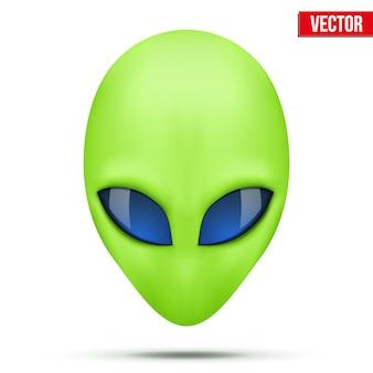 Außerirdische kreatur mit grünem kopf aus einer anderen welt. illustration auf weißem hintergrund.
