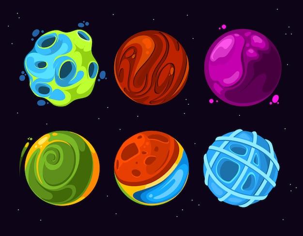 Außerirdische planetenphantasie der karikatur