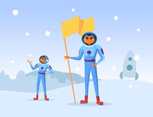Außerirdische zeichentrickfiguren, die nach norden aussteigen. froschneuling stehend mit flaggenillustration