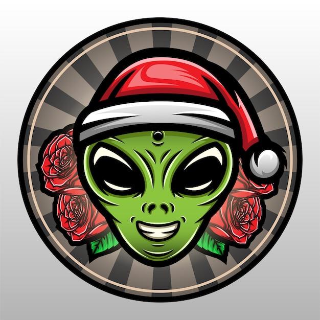 Außerirdischer kopf, der einen weihnachtshut trägt.