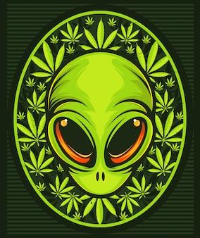 Außerirdischer kopf mit cannabisblättern.
