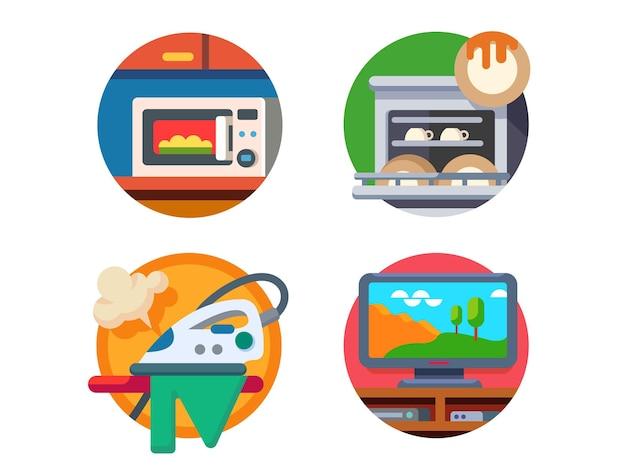 Ausstattung küche und haus. mikrowelle und geschirrspüler, bügeleisen oder fernseher. illustration