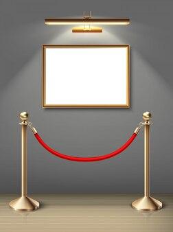 Ausstellung museumsmalerei an der wand in horizontaler positionierung mit scheinwerfer und roter barriere. leerzeichen für sie. realistischer holzboden und sonnenlicht.