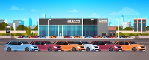 Ausstellungsraum-gebäude der neuwagen-autohändler-mitte
