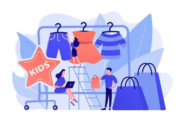 Ausstellungsraum mit kinderkleidung auf kleiderbügeln, designer und kunden mit einkaufstaschen. kindermode, showroom im babystil, marktkonzept für kinderkleidung. isolierte illustration des rosa korallenblauvektors