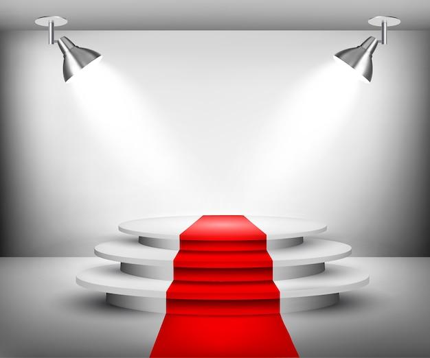 Ausstellungsraum mit rotem teppich.