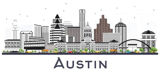Austin texas city skyline mit grauen gebäuden, isoliert auf weiss. vektor-illustration. geschäftsreise- und tourismuskonzept mit moderner architektur. austin usa stadtbild mit wahrzeichen.