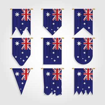 Australien flagge in verschiedenen formen, flagge von australien in verschiedenen formen