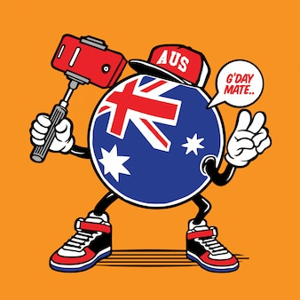 Australien flagge selfie charakter