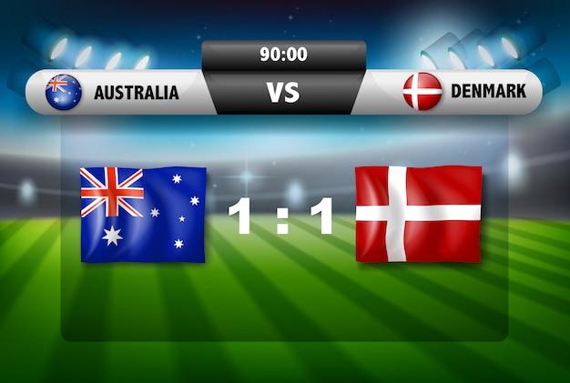 Australien gegen dänemark-fußballbrettkonzept