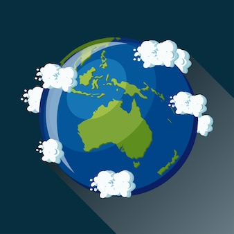 Australien karte auf dem planeten erde, blick aus dem weltraum. australien globus symbol.