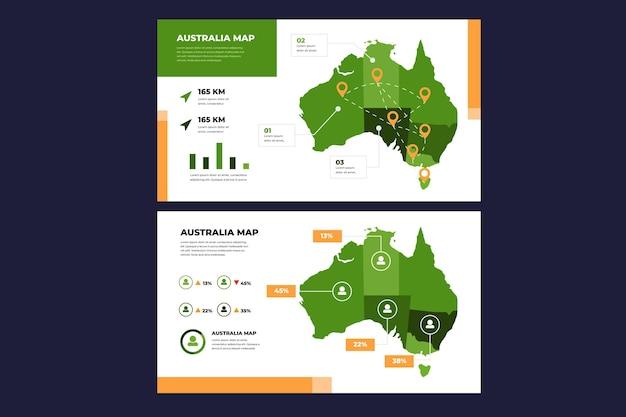 Australien karte infografik in flachem design
