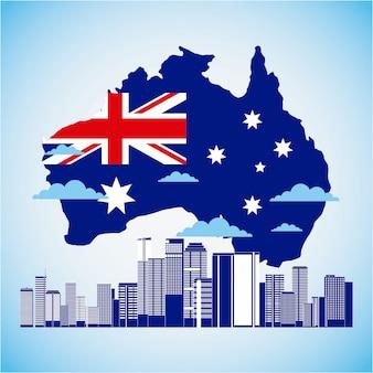 Australien-karte und flagge mit skylinen