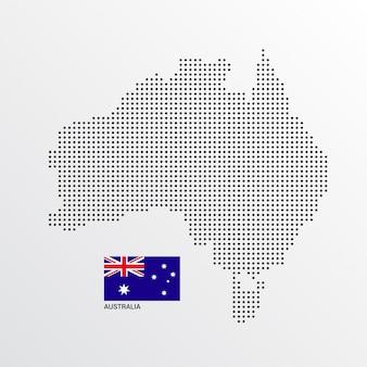 Australien-kartenentwurf mit flaggen- und hellem hintergrundvektor