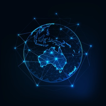 Australien-kartenkontinent auf planet erdeansicht vom raum.