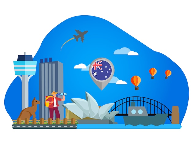 Australien landmark flat illustration