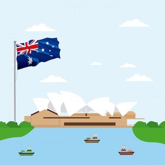 Australien-opern-theater mit flaggenszene