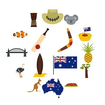 Australien-reiseikonen eingestellt in flache art