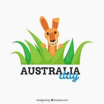 Australien tag hintergrund mit einem niedlichen känguru