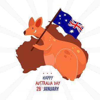 Australien tag mit australischer känguru-karte