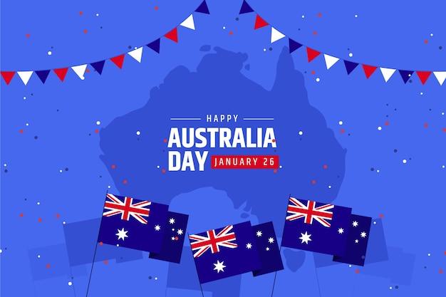Australien tag mit karte flaches design
