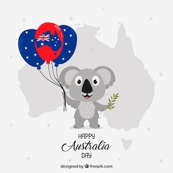 Australien-tagesentwurf mit dem koala, der ballone hält