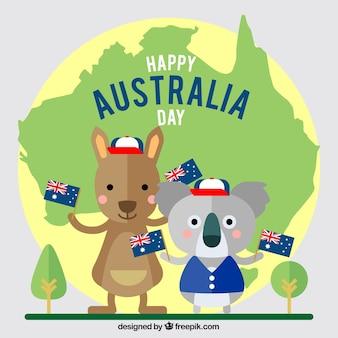 Australien-tagesentwurf mit känguru und koala
