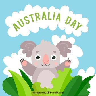 Australien-tagesentwurf mit lustigem koala
