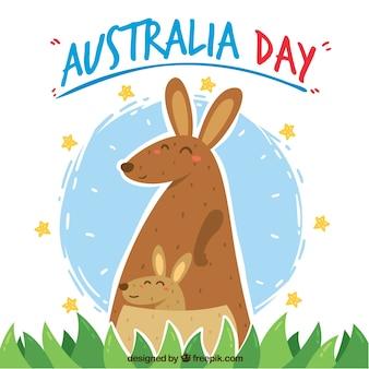 Australien-tagesentwurf mit netten kängurus