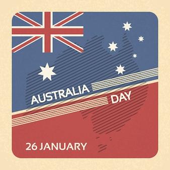 Australien-Tagesflagge-nationale Fahnen-Retro- Karte