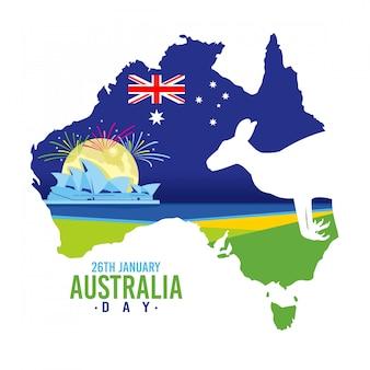 Australien-tageshintergrund mit einem känguru