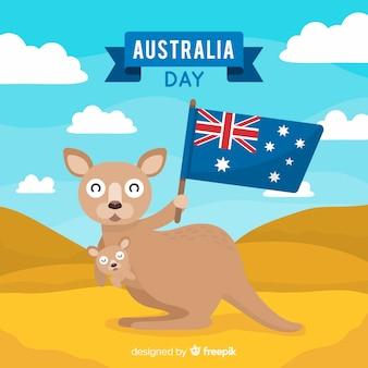Australien-tageshintergrund mit känguru