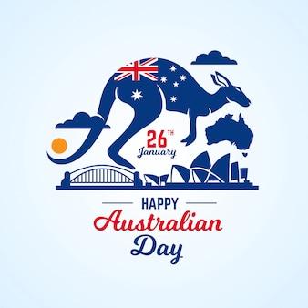 Australien-tageshintergrund mit sydney harbour bridge und känguru